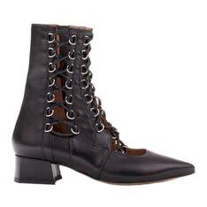 Marco Shoes Plecione botki z rzemykiem czarne