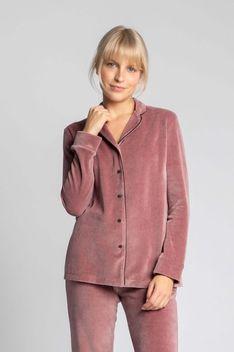 Welurowa Koszula od Piżamy - Różowa