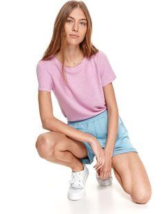 Gładki t-shirt z damski z krótkim rękawkiem