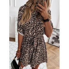 Sukienka Sandbella mini brązowa szmizjerka