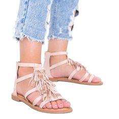 Beżowe sandały ozdobione frędzelkami Noronha beżowy