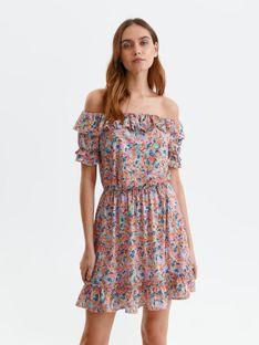 Sukienka w kwiaty z odkrytymi ramionami i falbaną