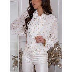 Sandbella bluzka damska z długim rękawem biała w groszki z kołnierzykiem