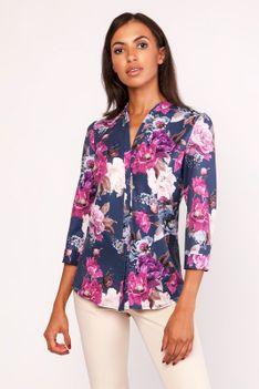 Elegancka Wzorzysta Koszula w Kwiaty ze Stojką z Rękawem ¾