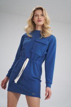 Sportowa Bawełniana Sukienka z Dużą Kieszenią - Niebieska