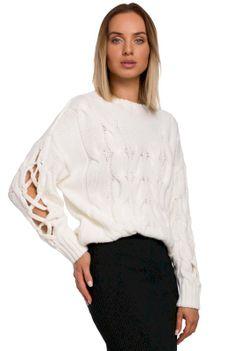 Sweter z Rozcięciem na Rękawach - Ecru