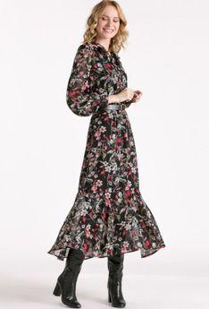 Sukienka maxi z falbaną i skórzanym paskiem