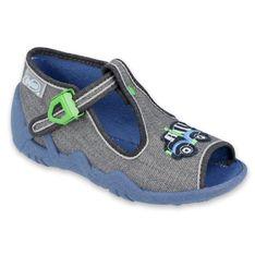 Befado obuwie dziecięce 217P109 szare wielokolorowe zielone