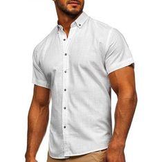 Koszula męska Denley casual bez wzorów z krótkimi rękawami