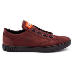 Polbut Skórzane buty męskie 2106 bordowe czerwone wielokolorowe