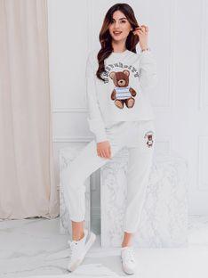 Komplet damski bluza + spodnie 007ZLR - ecru