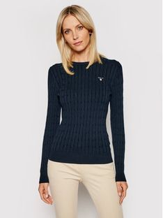 Gant Sweter Stretch Cable Crew 480021 Granatowy Slim Fit
