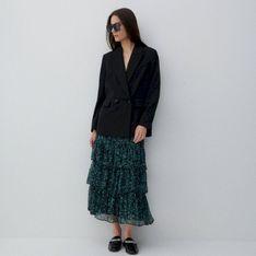 Reserved - Spódnica ze wzorzystej tkaniny - Turkusowy