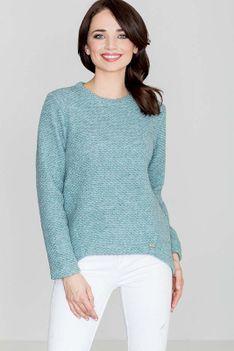 Niebieski Swobodny Sweter z Asymetrycznym Dołem