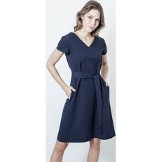 Sukienka True Color By Ann Bogel luźna granatowa na co dzień z krótkim rękawem