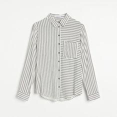 Reserved - Wiskozowa koszula w paski - Czarny