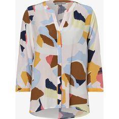 Bluzka damska wielokolorowa Comma, w abstrakcyjnym wzorze w serek