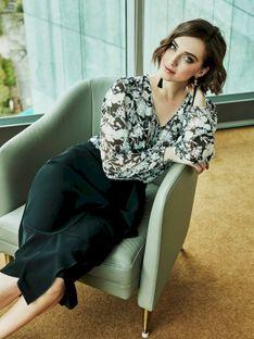 Klasyczna spódnica z asymetryczną falbanką Potis & Verso AURORA