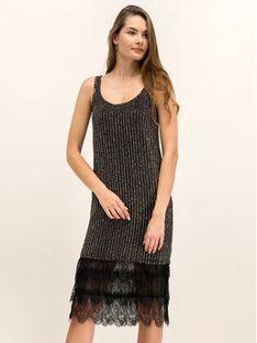 TwinSet Sukienka koktajlowa 192TP2461 Czarny Regular Fit