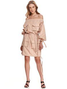 Sukienka cold shoulder z wiązaniami i kieszeniami