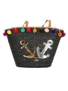 Pleciona czarna torebka plażowa Verde16-0004705