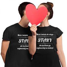 Komplet dla pary - Stara i Stary - męska i damska koszulka z nadrukiem