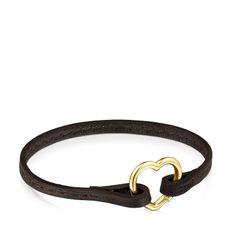 Hold - Bransoletka Tous z brązowej skóry z otwieraną złotą zawieszką w kształcie serca