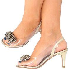 Sandały damskie Brenda Zaro na średnim obcasie złote
