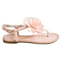 BUONAROTTI Sandały Japonki Z Kwiatem pomarańczowe różowe
