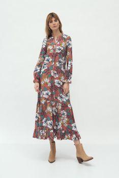 Długa Sukienka z Falbanką - Kwiaty