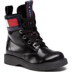 Buty zimowe dziecięce czarne sznurowane z koronką kozaki