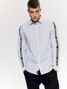 Koszula w paski z lampasem slim fit