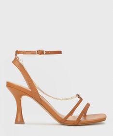 Jasnobrązowe skórzane sandały damskie