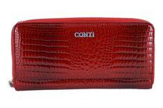 CONTI - elegancki portfel damski - Czerwony
