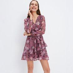 Mohito - Szyfonowa sukienka w kwiaty - Różowy