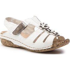 Sandały damskie Rieker z tworzywa sztucznego białe bez wzorów z niskim obcasem na koturnie
