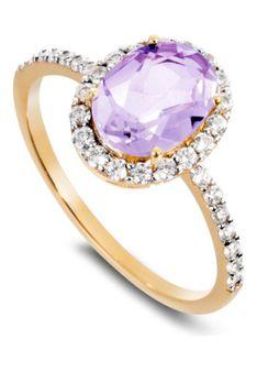 Manhattan - Pierścionek - Różowe złoto - diament - ametyst - różowo-złoty/przezroczysty/fioletowy