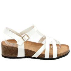 Sandałki na korkowym koturnie białe H072 Blanco
