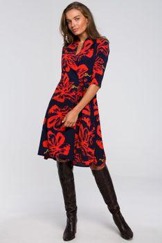 Rozkloszowana Sukienka Kopertowa z Wzorem- Model1