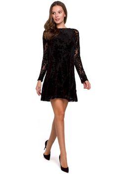 Czarna Sukienka z Aksamitnej Koronki
