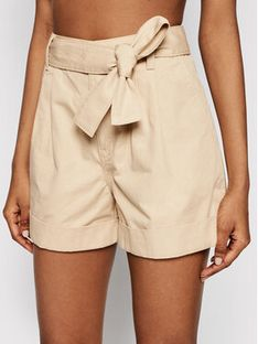 Tommy Jeans Szorty materiałowe Belted DW0DW09746 Beżowy Mom Fit