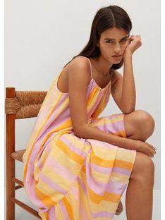 Mango Sukienka letnia Niza 17020191 Kolorowy Regular Fit