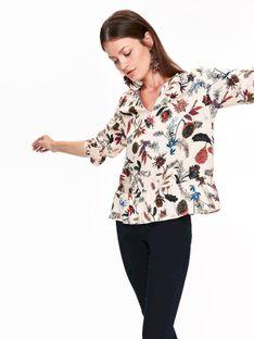 Bluzka damska w kwiatowy wzór, z falbaną