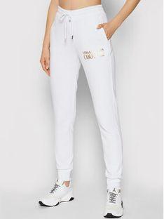 Versace Jeans Couture Spodnie dresowe Logo Foil 71HAAT04 Biały Regular FIt