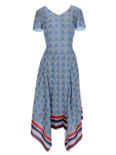 Niebieska sukienka z asymetrycznym dołem Potis & Verso ATLANTA