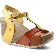 Sandały damskie brązowe Yokono z klamrą skórzane