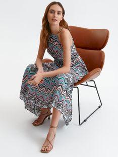 Sukienka maxi w kolorowe wzory