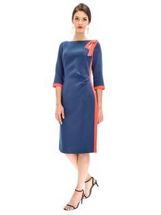 Elegancka sukienka z kontrastową wstawką Ella Boo E-20AW-2009