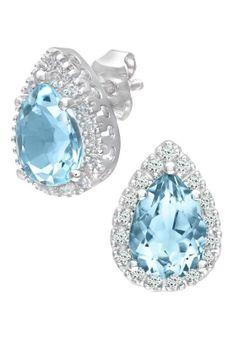 Revoni - Kolczyki - 14K białe złoto - 0,13 ct diament - topaz - srebrny