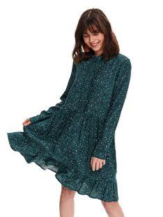 Printowana sukienka z falbaną